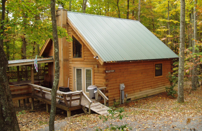 Cabin exterior at Country Road Cabins.