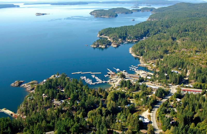 Aerial view of Lund Resort at Klah ah men.