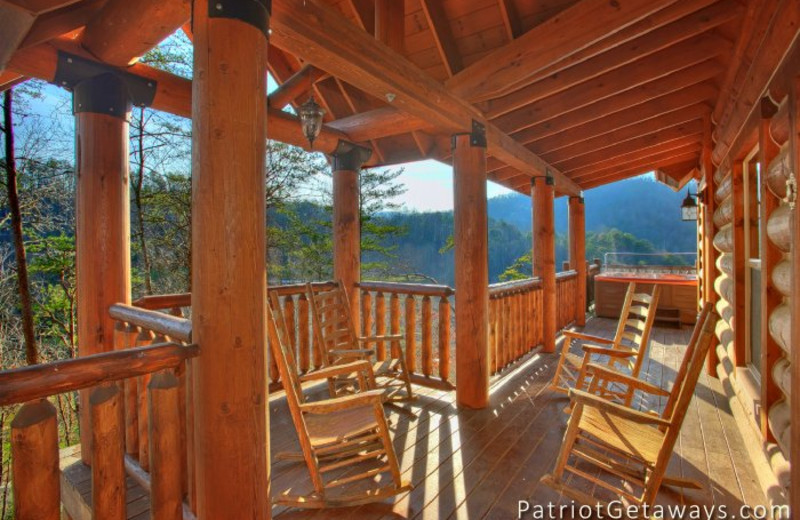 Cabin deck at American Patriot Getaways, LLC.