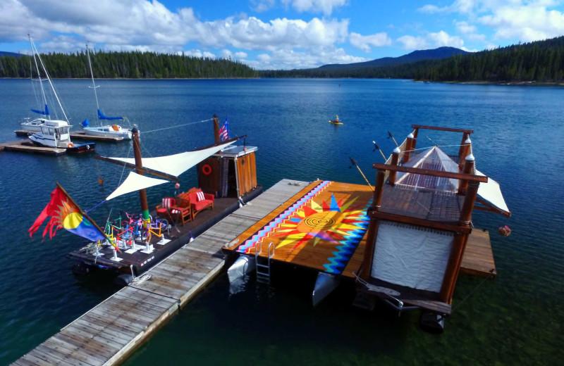 Docks at Elk Lake Resort.