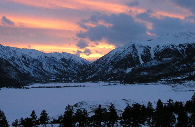 Sunset at Independence Pass in the winter. Snowmobiling, cross country skiing, ice fishing and even ice skating in some places.