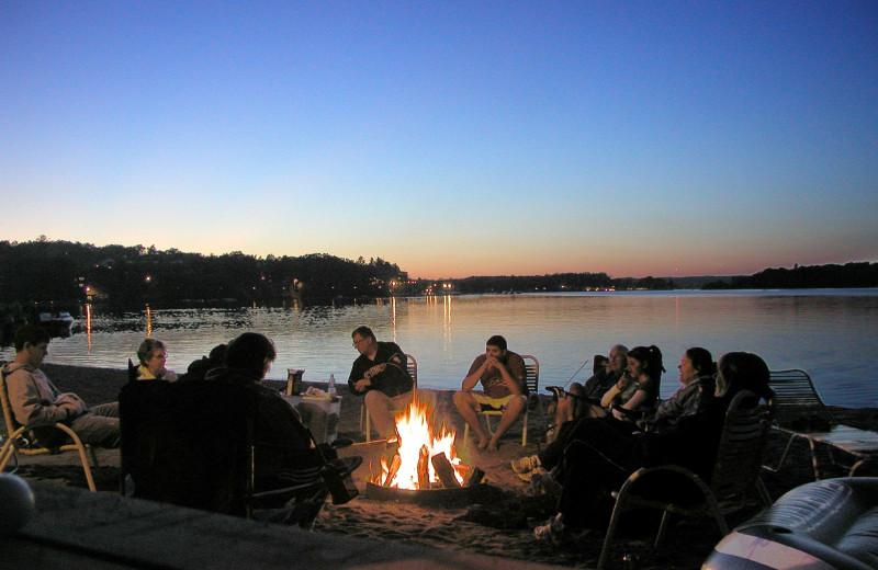 Bonfire at Cragun's Resort and Hotel on Gull Lake.