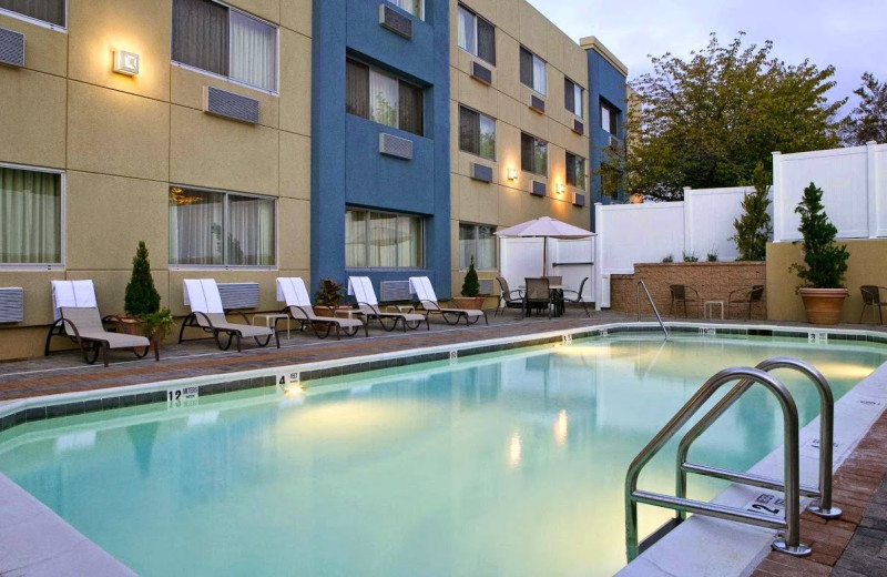 Outdoor pool at Four Points by Sheraton Plainview Long Island.