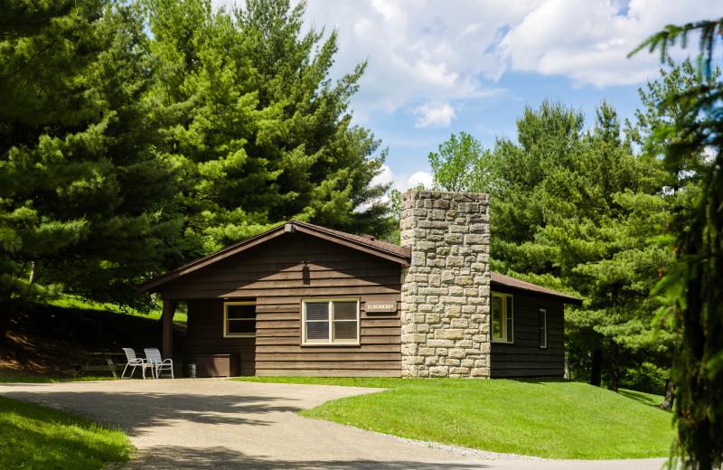 Cabin exterior at Oglebay Resort and Conference Center.