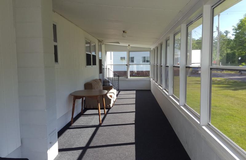 Porch at Riverbank Motel & Cabins.