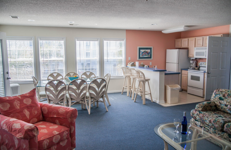 Rental living room and kitchen at The Winds Resort Beach Club.