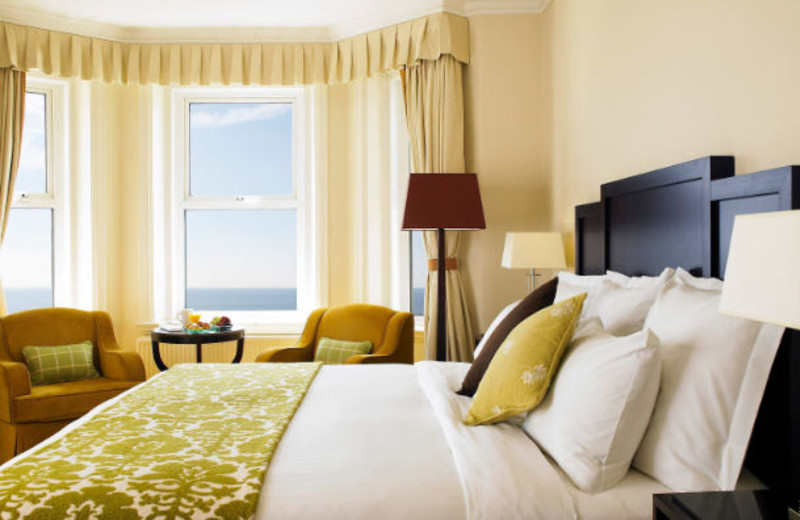 Guest room at Bournemouth Highcliff Marriott Hotel.