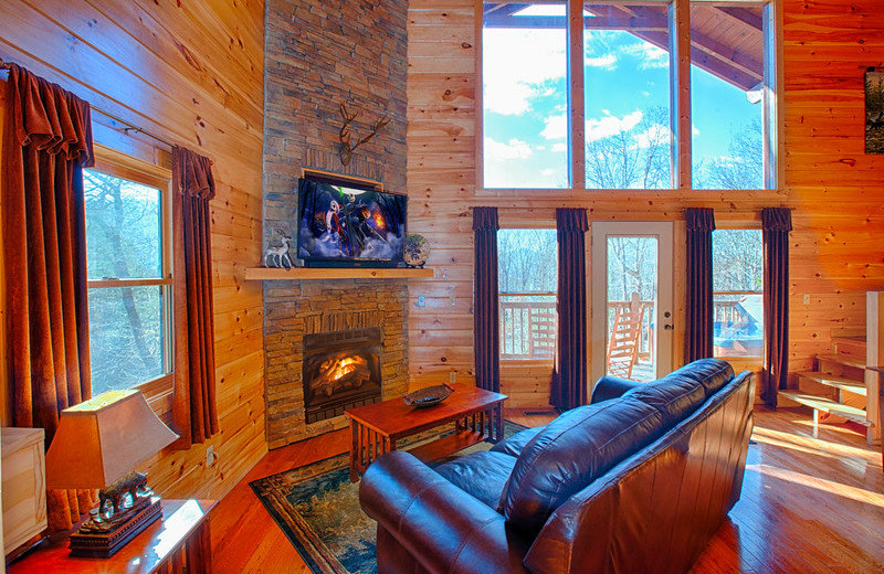 Cabin living room at The Cabin Rental Store.