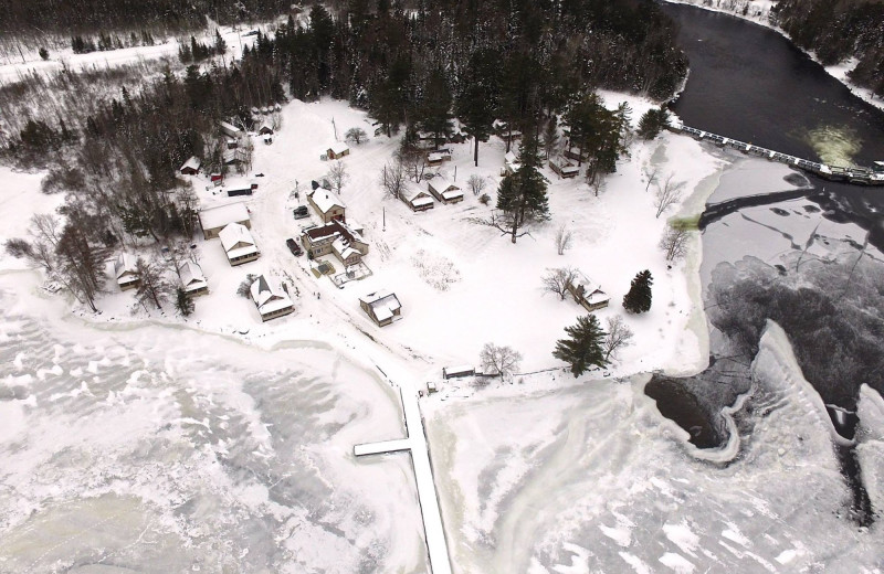 Winter aerial view at Wilsons on Moosehead Lake.