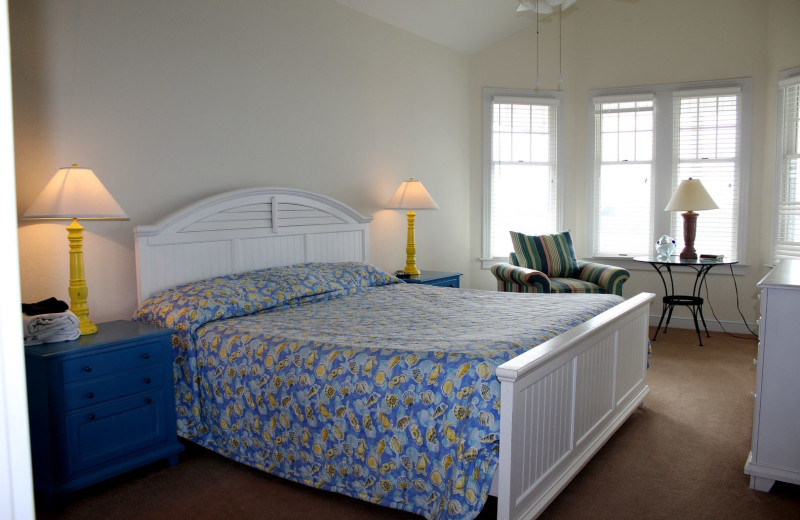 Rental bedroom at Pirate's Cove Realty.