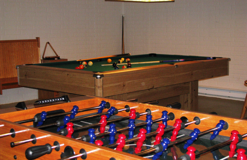 Game room at Creeks Crossing Cabins.