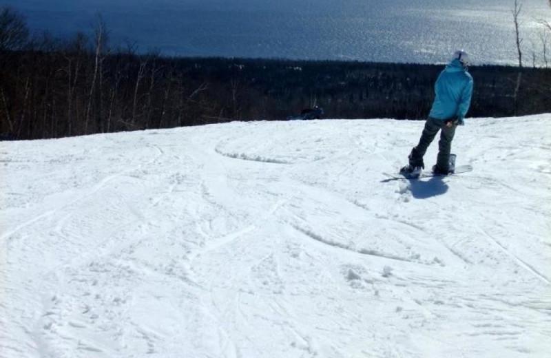 Snowboarding at Grand Marais Hotel Company.