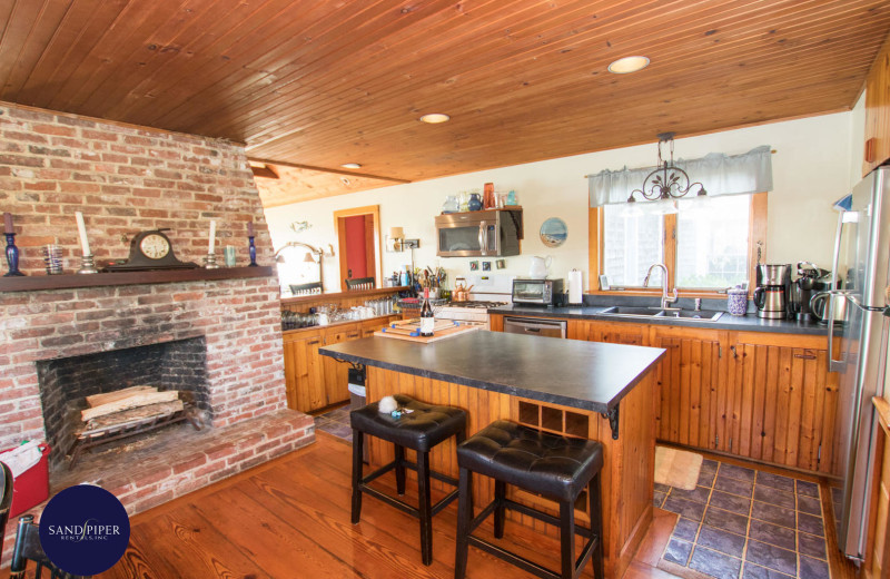 Rental kitchen at Sandpiper Rentals.