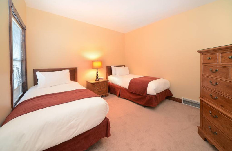 Guest bedroom at The Quarters at Lake George.