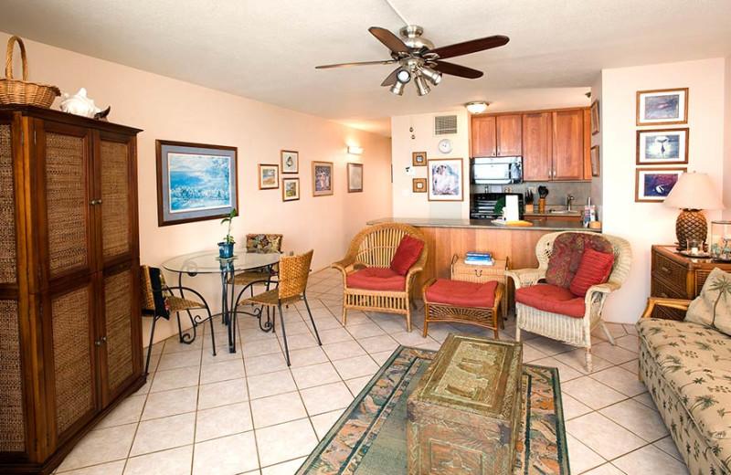 Vacation rental living room at Sugar Beach Resort.