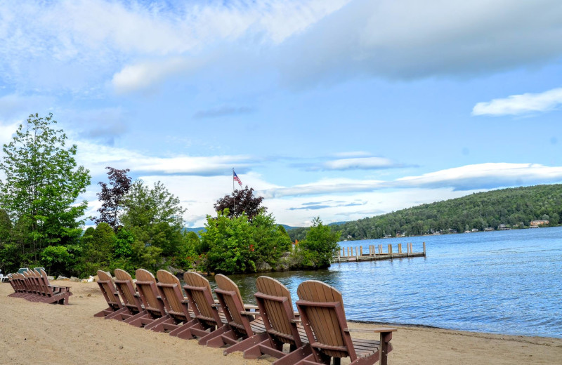Beach at The Lodges at Cresthaven on Lake George.