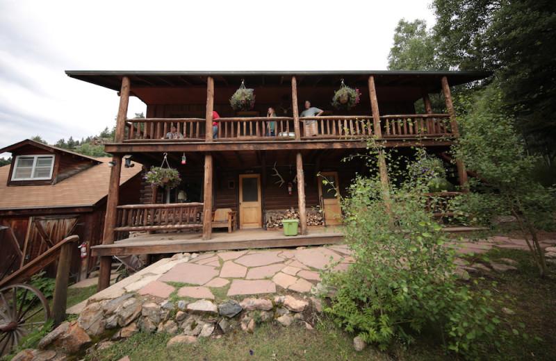 Cabin exterior at Tumbling River Ranch.
