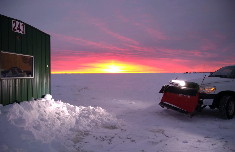 Ice fishing at Zippel Bay Resort