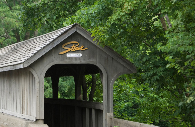 Covered bridge at Stowe Vacation Rentals & Property Management.