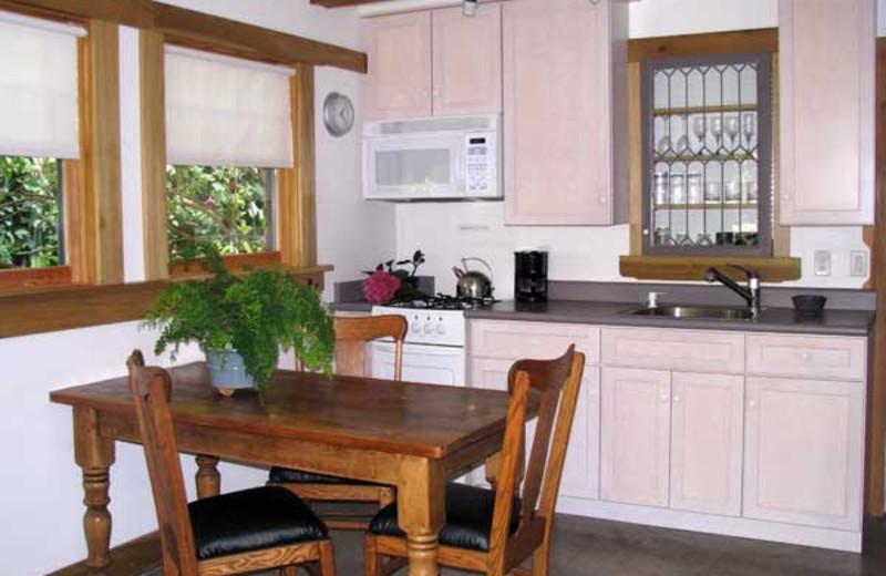 Garden suite kitchen area at Berkeley Short-Term Lodging.