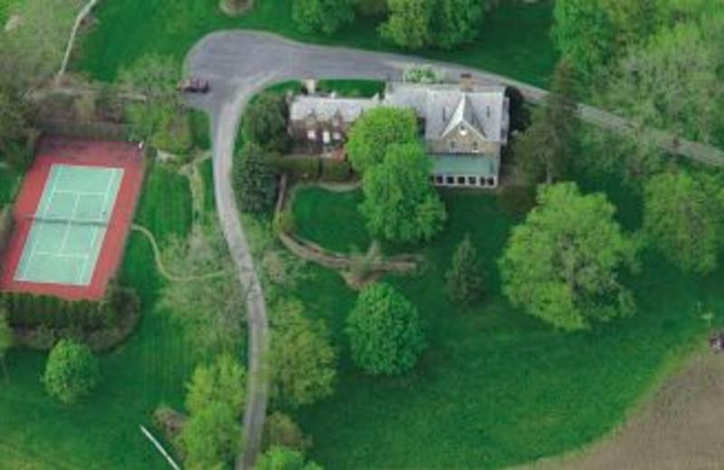Aerial view of Morgan-Samuels Inn.