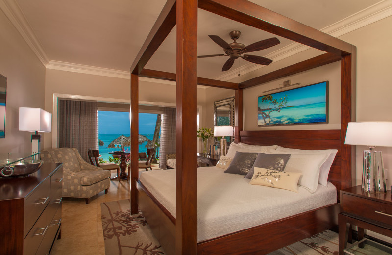 Guest room at Sandals Negril Beach Resort and Spa.