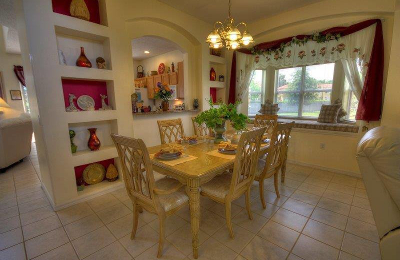 Vacation rental formal dining room at Elite Vacation Homes.