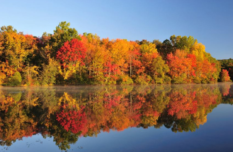 Autumn on the lake at The Lodge at Woodloch.