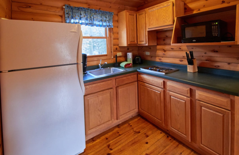 Cabin kitchen at Yogi Bear's Jellystone Park Warrens.