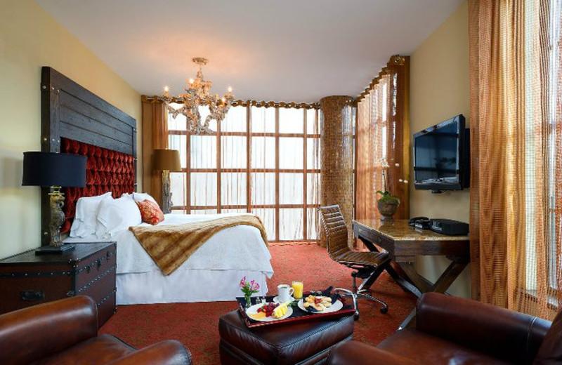Guest room at Bohemian Hotel Savannah Riverfront.