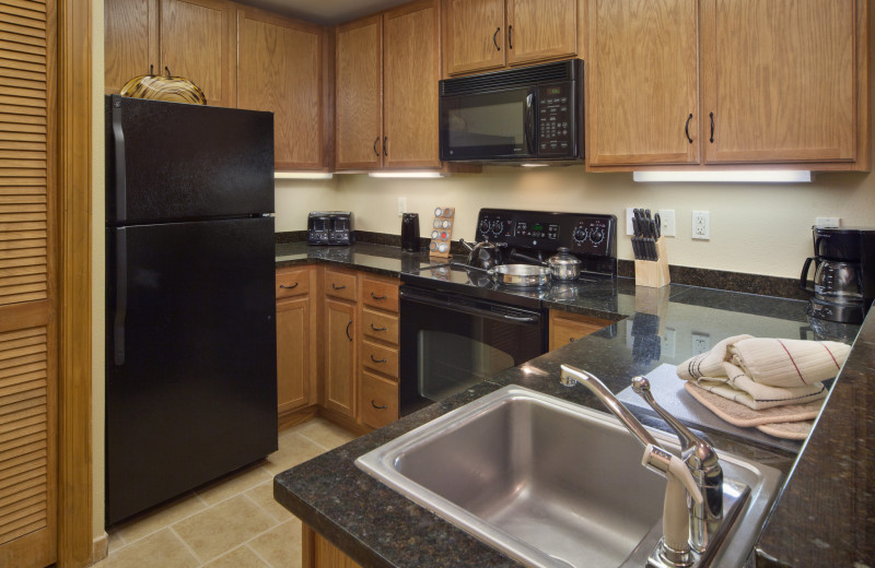 Guest kitchen at Holiday Inn Club Vacations Smoky Mountain Resort.