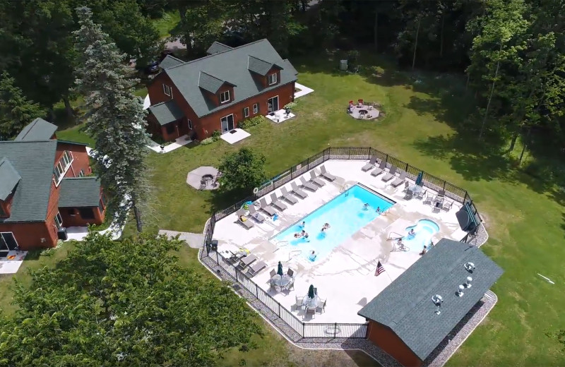 Aerial view of Woodland Beach Resort.