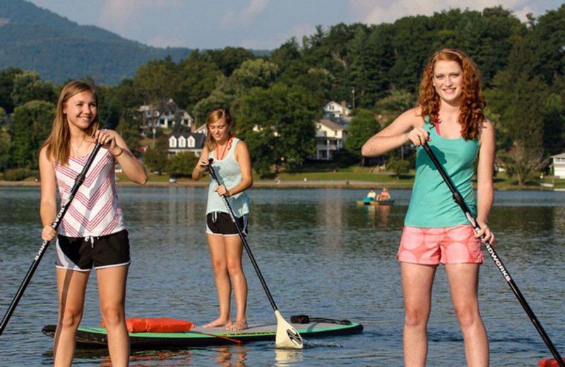 Paddle boarding on Lake Junaluska.