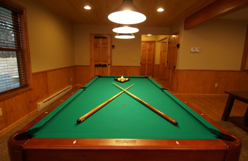 Billiard table at Pocono Mountain Rentals.