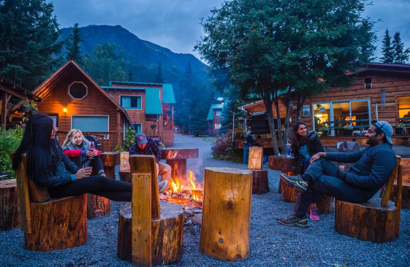 Fire pit at Kenai River Drifter's Lodge.