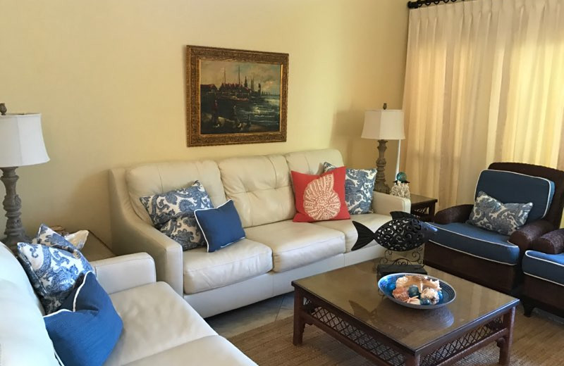 Rental living room at Sunnyside Beach & Tennis Resort.