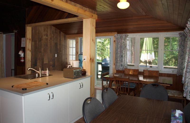 Cabin living room at Sandy Beach at Otter Lake.