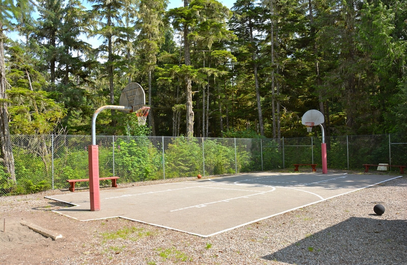 Basketball court at The Fireweed Lodge.