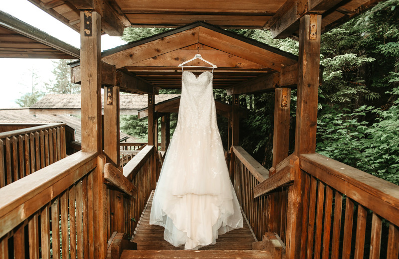 Wedding dress photo before a wedding at Salmon Falls Resort.