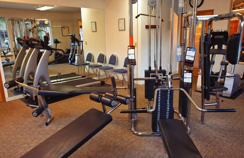 Fitness room at Whispering Woods Resort.