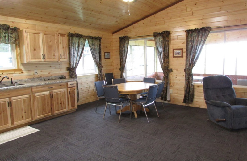 Cabin interior at Pine Aire Resort.