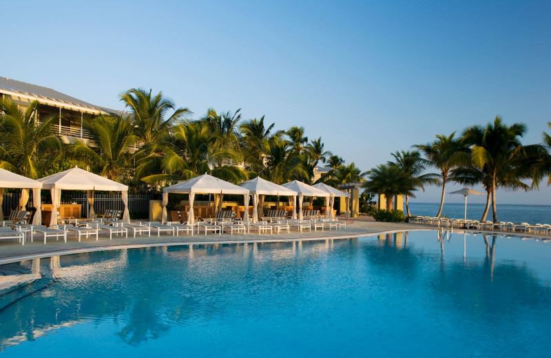 Outdoor pool and cabanas at South Seas Resort.