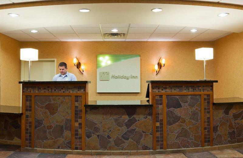 Reception desk at Holiday Inn Minneapolis.