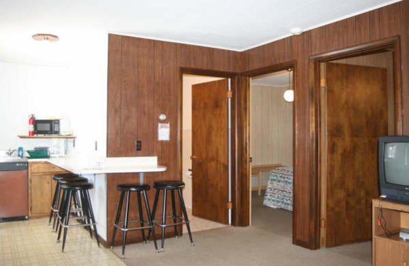 Cabin interior at Popp's Resort.