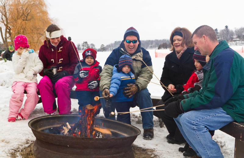 Family bonfire at Cragun's Resort and Hotel on Gull Lake.