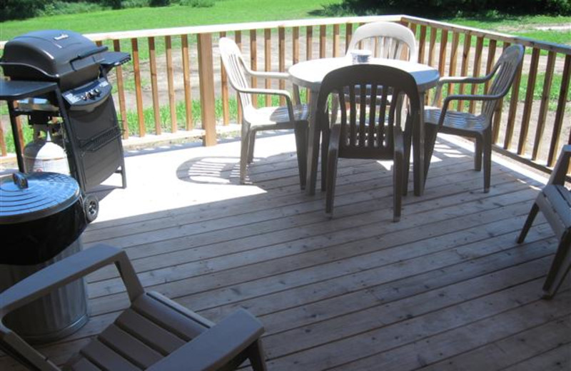 Large covered deck and gas grill