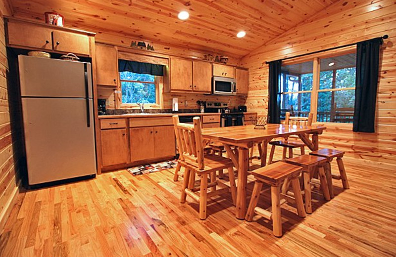 Cabin kitchen at Sautee Resorts.