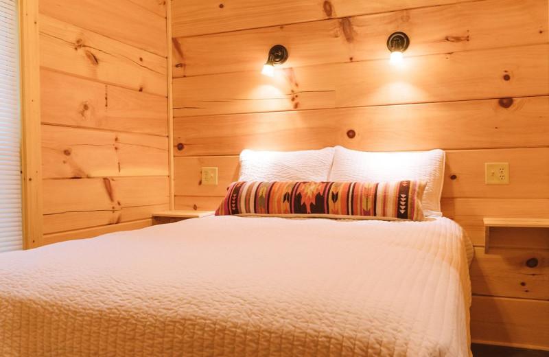 Cabin bedroom at Yogi Bear's Camp Golden Valley.