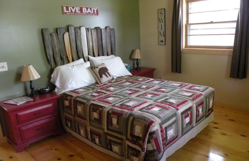 Cabin bedroom at Sams Island Cabin.