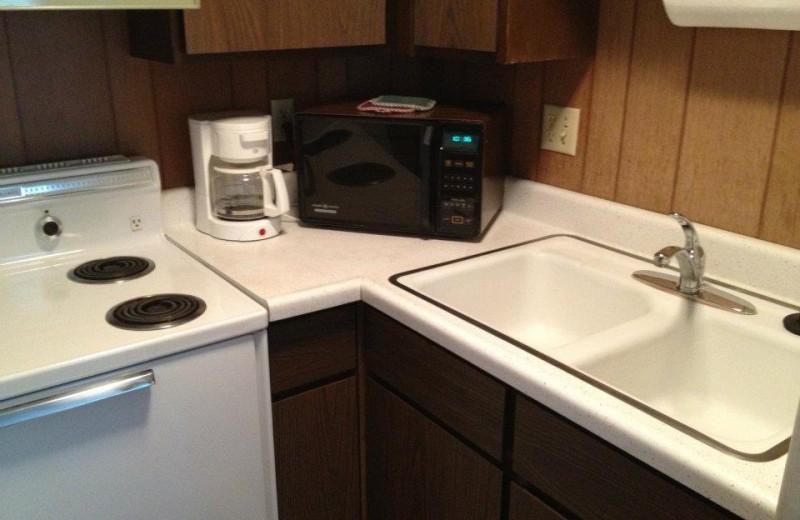 cabin kitchen at Weslake Resort.